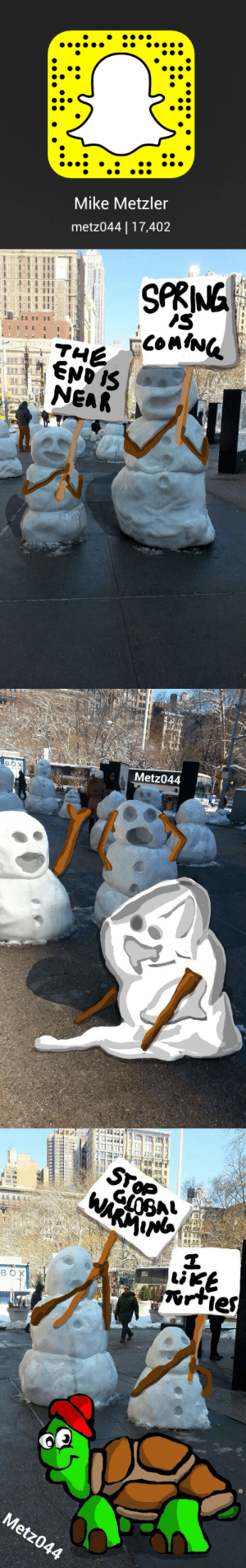 mtzler:Scan the first image in SC or add me at - metz044  This is One of my favorite snap stories I've created recently. Drawing on real life is one of my favorite things and when I can incorporate Calvin and Hobbes references… All the better.: Mike Metzler  metz044  17,402   SPRING  is  ConING  END IS  THE  NEAR  PUN   Metz044  BOX   STOP  WARM  LIKE  orties  BOX  Metz044 mtzler:Scan the first image in SC or add me at - metz044  This is One of my favorite snap stories I've created recently. Drawing on real life is one of my favorite things and when I can incorporate Calvin and Hobbes references… All the better.