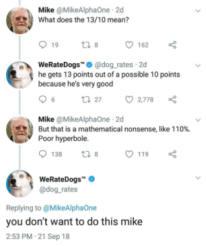 """Mathematical: Mike @MikeAlphaOne 2d  What does the 13/10 mean?  19  162  WeRateDogs"""""""" @dog_rates 2d  he gets 13 points out of a possible 10 points  because he's very good  27  с 2,778  Mike @MikeAlphaOne 2d  But that is a mathematical nonsense, like 110%.  Poor hyperbole  138  119  WeRateDogs""""  @dog rates  Replying to @MikeAlphaOne  you don't want to do this mike  2:53 PM 21 Sep 18"""