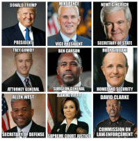 Ben Carson, Memes, and Supreme: MIKE PENCE  NEWT GINGRICH  DONALD TRUMP  PRESIDENT  SECRETARY OF STATE  VICE PRESIDENT  TREY GOWDY  RUDY GIULIANI  BEN CARSON  SURGEON GENERAL  HOMELAND SECURITY  ATTORNEY GENERAL  EANINEPIRROO  ALLEN WEST  DAVID CLARKE  COMMISSION ON  SECRETARY OF DEFENSE SUPREME COURT JUSTICE LAW, ENFORCEMENT S The Trump Cabinet THOUGHTS?  Who do you agree with?  Who do you disagree with?