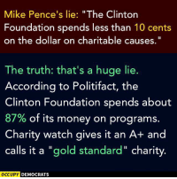 """[w]: Mike Pence's lie: """"The Clinton  Foundation spends less than 10 cents  on the dollar on charitable causes.  The truth: that's a huge lie.  According to Politifact, the  Clinton Foundation spends about  87% of its money on programs.  Charity watch gives it an A+ and  calls it a """"gold standard"""" charity.  OCCUPY DEMOCRATS [w]"""