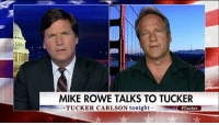 "Memes, Business, and Tucker Carlson: MIKE ROWE TALKS TO TUCKER  TUCKER CARLSON tonight  ""I want an environment where the companies who are most responsible for hiring are dramatically encouraged by the market to keep the business here."" @mikerowe talked about President @realdonaldtrump's executive orders and the need for long-term solutions for the economy. Tucker"
