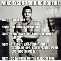 Funny, Gym, and Memes: MIKE TYSON TRAINING ROUTINE  4am-3 MILE RUN  12pm 10 ROUNDSSPARRING  3pm -RING TECHNIQUE AND 60 MINUTES  CARDI  5pm STRENGTH AND CONDITIONING  12000 SIT-UPS,600 DIPS 500 PUSH-  UPS, 500 SHRUGS  8pm 300 MINUTES ON THE ENERCISE BIKE ...... ... Would you go through this everyday to be champ?.. 💥💥💥💥💥💥 FOLLOW US . ⬇️⬇️⬇️⬇️⬇️⬇️⬇️⬇️⬇️⬇️⬇️⬇️ 🔥🔥@bodybuilding_humour 🔥🔥 ⬆️⬆️⬆️⬆️⬆️⬆️⬆️⬆️⬆️⬆️⬆️⬆️ ... bodybuilding gymmemes crossfit strong motivation powerlifting quotes gymhumour deadlift squat bench gymhumour funny legday motivation girlswholift fitchick mma gymhumor gym gymmotivation gymproblems gymflow wwe