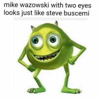 steve buscemi eyes: mike Wazowski with two eyes  looks just like steve buscemi