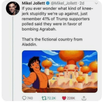 Agrabah, Aladdin, and Trump: Mikel Jollett@Mikel_Jollett. 2d  If you ever wonder what kind of knee-  jerk stupidity we're up against, just  remember 41% of Trump supporters  polled said they were in favor of  bombing Agrabah.  That's the fictional country from  Aladdin.