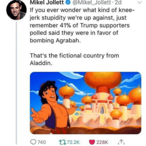 Oh my goodness!!: Mikel Jollett@Mikel_Jollett 2d  If you ever wonder what kind of knee-  jerk stupidity we're up against, just  remember 41% of Trump supporters  polled said they were in favor of  bombing Agrabah  That's the fictional country from  Aladdin.  9740  228K Oh my goodness!!