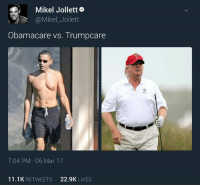 Perfect metaphor on healthcare.: Mikel Jolletto  Obamacare vs. Trumpcare  7:04 PM 06 Mar 17  11.1 K  RETWEETS  22.9K  LIKES Perfect metaphor on healthcare.