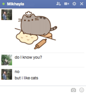 jakemalik:  this girl just keeps sending me cats on facebook chat: Mikhayla  do I know you?  no  but i like cats jakemalik:  this girl just keeps sending me cats on facebook chat