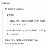 Memes, Peanuts, and 🤖: milesjai:  its-fucking-peanut:  3frraa  scary how fast someone can mean  so much to you  scary how fast you can mean nothing  to someone  scary how fast i switched my car  insurance to geico 15 minutes could save you...