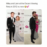 America, Miley Cyrus, and Oscars: Miley and Liam at the Oscars Viewing  Party in 2012 vs. now  Creating  America  Airlines  neuro  LGAR.I  ELTON JOHN  AIDS FOUNDAT  ON  ELTO  nes  ELTON  ON  ELTON  AIDS F  GA  net  roNCompass  DATION C oscars