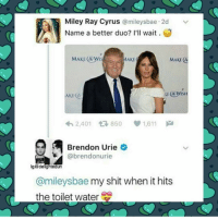 Memes, Brendon Urie, and 🤖: Miley Ray Cyrus  a mileysbae 2d v  Name a better duo? I'll wait  MAKE wis MAKE  MAKE CA  AKE  1,611  Brendon Urie  @brendonurie  ige delightedun  @mileysbae my shit when it hits  the toilet water