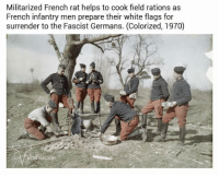 "<p>French memes, set to overtake Italian memes in market value? via /r/MemeEconomy <a href=""http://ift.tt/2jN1ihw"">http://ift.tt/2jN1ihw</a></p>: Militarized French rat helps to cook field rations as  French infantry men prepare their white flags for  surrender to the Fascist Germans. (Colorized, 1970)  odkacide <p>French memes, set to overtake Italian memes in market value? via /r/MemeEconomy <a href=""http://ift.tt/2jN1ihw"">http://ift.tt/2jN1ihw</a></p>"