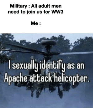 I'm not a man tho: Military : All adult men  need to join us for WW3  Me :  Isexually identify as an  Apache attack helicopter. I'm not a man tho