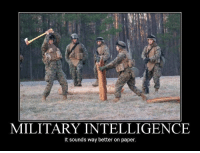 When Marines are allowed to think.: MILITARY INTELLIGENCE  t sounds way better on paper When Marines are allowed to think.