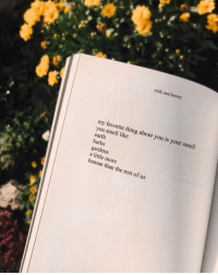 Smell, Earth, and Human: milk and honey  my favorite thing about you is your smell  you smell like  earth  herbs  gardens  a little more  human than the rest of us