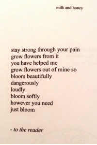 Flowers, Strong, and Pain: milk and honey  stay strong through your pain  grow flowers from it  you have helped me  grow flowers out of mine so  bloom beautifully  dangerously  loudl  bloom softly  however you need  just bloom  - to the reader