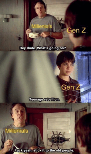 Dude, Old People, and Yeah: Millenia  Gen Z  Hey dude. What's going on?  G Z  en  Teenage rebellion  Millenials  Fuck yeah, stick it to the old people. Relevant and relatable