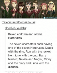 Birthday, Children, and Hermione: millenniumfalconteahouse:  doodlebug-debz:  Seven children and seven  Horcruxes  The seven characters each having  one of the seven Horcruxes. Draco  with the ring, Ron with the locket,  Hermione with the cup, Harry  himself, Neville and Nagini, Ginny  and the diary and Luna with the  diadem. ••••••• I love getting sick the day before my birthday 😩