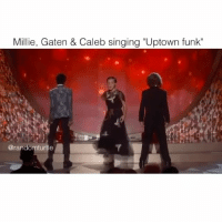 "Memes, Singing, and Turtle: Millie, Gaten & Caleb singing ""Uptown funk""  @rando  turtle strangerthings"