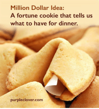 cookie: Million Dollar Idea:  A fortune cookie that tells us  what to have for dinner.  purple clover com