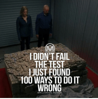 """Anaconda, Fail, and Head: MILLIONAIRE MENTOR  FDIDN'T FAIL  THE TEST  IJUST FOUND  100 WAYS TO DO IT  WRONG  @MILLIONAIRE MENTOR Failure is inevitable. We all know that. We learn this fact of life at very young ages and we develop a response to failure that often follows us into adulthood. Most of us learn to adjust our behavior in order to not experience failure, or at least, not the kind of failure that is very obvious or painful. - We attempt>We Fail>We never try again. The End. - If you imagine a typical day in your head, starting at the beginning, it won't take you long to come to the first occurrence of something you do mainly to avoid failure. Take a moment to imagine the best that could happen in that scenario and then choose to start there, adjusting your actions based on possible success instead of the fear of failure. And know this: it may not """"work."""" Failure leads to failure leads to failure...until it doesn't! Success ONLY comes after failure and usually that looks like this: Failure>Failure>Failure>Failure>Failure>Success! - Surprised?😉 Comment below and let me know what you think!👇 - success failure motivation millionairementor"""