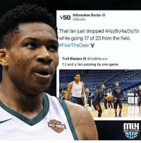 Memes, Milwaukee Bucks, and Savage: Milwaukee Bucks  @Bucks  That fan just dropped 44p/8r/4a/2s/1b  while going 17 of 23 from the field  #FearTheDeer Y  Trail Blazers @trailblazers  CJ and a fan passing by pre-game  50 Giannis is going for the MVP award 🔥💯 Trailblazers tried being savage 💀 - Follow @_nbamemes._