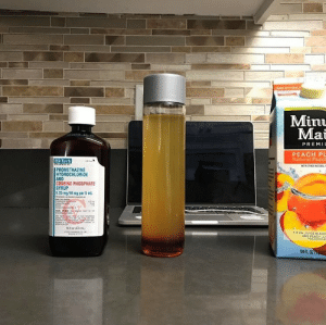 Juice, Promethazine, and Peach: Min  Mai  PREMI  PEACH PU  Natural Peach  Hi-Tech  WITH OHERNGTRAL  PROMETHAZINE  HYDROCHLORIDE  AND  ODEINE PHOSPHATE  SYRUP  6.25 mg/10 mg per 5 mL  A 5% JUICE BLEN  59L