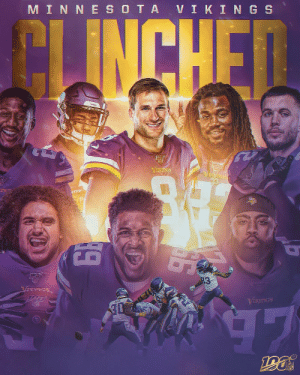 See you in the #NFLPlayoffs, @Vikings. #SKOL https://t.co/QSRDb53HpA: MIN NE S OTA VIKIN GS  CLINCHEN  VENGS  VISTOGS  VIKINGS  19 See you in the #NFLPlayoffs, @Vikings. #SKOL https://t.co/QSRDb53HpA
