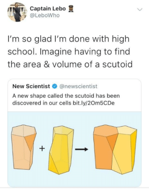 Dank, Memes, and School: ,  minCaptain Lebo  @LeboWho  I'm so glad I'm done with high  school. Imagine having to find  the area & volume of a scutoid  New Scientist@newscientist  A new shape called the scutoid has been  discovered in our cells bit.ly/20m5CDe Can you imagine. by M-baku FOLLOW HERE 4 MORE MEMES.