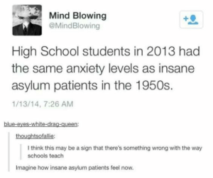 School, Tumblr, and Queen: Mind Blowing  @MindBlowing  High School students in 2013 had  the same anxiety levels as insane  asylum patients in the 1950s.  1/13/14, 7:26 AM  blue-eyes-white-drag-queen:  thoughtsofallie  I think this may be a sign that there's something wrong with the way  schools teach  Imagine how insane asylum patients feel now. anxietyproblem:This blog is Dedicated to anyone suffering from Anxiety! Please Follow Us if You Can Relate: ANXIETYPROBLEMS