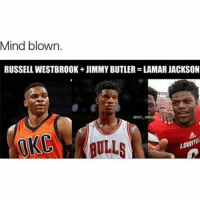 Or is it Just me😂 - Via - - @sportshumors: Mind blown.  RUSSELL WESTBROOK JIMMY BUTLER LAMARJACKSON  LOUSY  BULLS Or is it Just me😂 - Via - - @sportshumors
