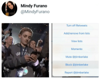 "Being Alone, Memes, and Mute: Mindy Furano  @MindyFurano  Turn off Retweets  Add/remove from lists  View lists  Moments  Mute @jtimberlake  Block @jtimberlake  Report @jtimberlake <p>He wouldn&rsquo;t leave him alone&hellip; via /r/memes <a href=""http://ift.tt/2GLUKL6"">http://ift.tt/2GLUKL6</a></p>"