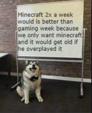 Meme, Minecraft, and Old: Minecraft 2x a week  would is better than  gaming week because  we only want minecraft  and it would get old if  he overplayed it Bring back LWIAY and meme review