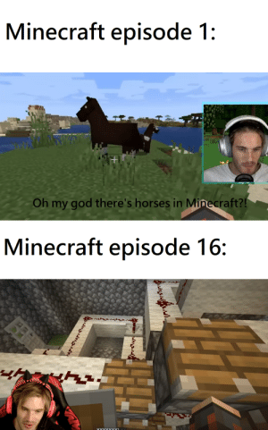 They grow up so fast: Minecraft episode 1:  Oh my god there's horses in Minecraft?!  Minecraft episode 16:  XXXXXYYY They grow up so fast