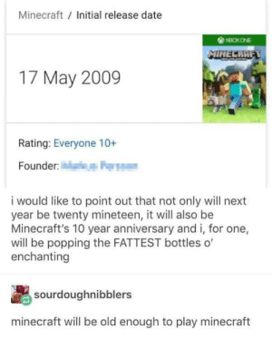 meirl by Kamilokk MORE MEMES: Minecraft Initial release date  17 May 2009  Rating: Everyone 10+  Founder  i would like to point out that not only will next  year be twenty mineteen, it will also be  Minecraft's 10 year anniversary and i, for one,  will be popping the FATTEST bottles o'  enchanting  sourdoughnibblers  minecraft will be old enough to play minecraft meirl by Kamilokk MORE MEMES