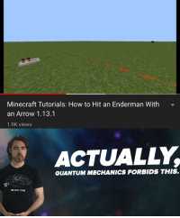 Minecraft, Arrow, and How To: Minecraft Tutorials: How to Hit an Enderman With  an Arrow 1.13.1  1.9K views  ACTUALLY  QUANTUM MECHANICS FORBIDS THIS.  懵DIGITAL STUOIOS You cant hit that enderman!
