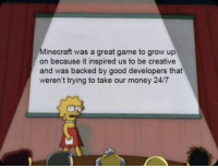 Minecraft, Money, and Ted: Minecraft was a great game to grow up  on because it inspired us to be creative  and was backed by good developers that  weren't trying to take our money 24/7 Thanks for coming to my ted talk