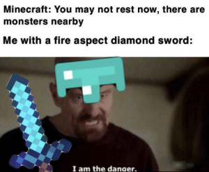 I like turtles: Minecraft: You may not rest now, there  monsters nearby  Me with a fire aspect diamond sword:  I am the danaer. I like turtles