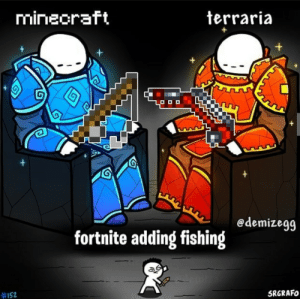 Let's fish for som enchanted books and nametags instead of playing utter garbage: mineoraft  terraria  +  +  +  edemizegg  fortnite adding fishing  #152  SRGRAFO Let's fish for som enchanted books and nametags instead of playing utter garbage