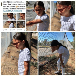Tumblr, Blog, and Kids: Mini AOC @miniAOCoffi....  Every time I plan a visit to th  park it's closed!  see how sad this makes me?  Can ever  #sad #MALA #MINIAOC  t2,464  6,032  463  *PhotoGrid kompanie-mutter:  feminismisahatemovement:Mini-AOC at the park  STOPUSINGYOURKIDSFORPOLITICAL POSTURING  Political posturing where? She's just clowning on AOC which is a fun bipartisan activity that all should enjoy.