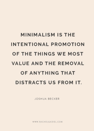 Removal: MINIMALISM IS THE  INTENTIONAL PROMOTION  OF THE THINGS WE MOST  VALUE AND THE REMOVAL  OF ANYTHING THAT  DISTRACTS US FROM IT  JOSHUA BECKER  www.RACHELGADIEL.COM
