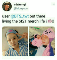 #bts #jhope #jungkook: minion-gi  @blurryoon  user @BTStwt out there  living the bt21 merch life #bts #jhope #jungkook