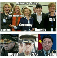 America, Memes, and Ups: Ministers of Defence  The Netherlands  Italy  Germany  Norway  Albania  RUSSIA  CHINA  UISIA America just rejoined the grown ups table.