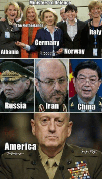 Dank, China, and Germany: Ministers of Defence  The Netherlands  Italy  Germany  Norway  N  Albania  Russia  Iran  China  America This is what I was looking for.