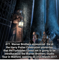 Memes, 🤖, and Forest: @ministry ofhogwarts  477. Warner Brothers announced the at  the Harry Potter Celebration yesterday  that the Forbidden Forest set is going to be  introduced to the Warner Brothers Studio  Tour in Watford, opening on 31st March 2017. Very exciting news, can't wait! Qotd - Have you been to the studio tour before? Carina Mae x Fc - 84.6k @maelovesbooks @carinapotter