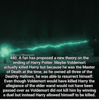 Harry Potter, Memes, and 🤖: @ministry ofhogwarts  480. A fan has proposed a new theory on the  ending of Harry Potter  Maybe Voldemort  actually killed Harry but because he was the Master  of Death at the time, as he owned all three of the  Deathly Hallows, he was able to resurrect himself.  Even though Voldemort would have killed Harry the  allegiance of the elder wand would not have been  passed over as Voldemort did not kill him by winning  a duel but instead Harry allowed himself to be killed. I know this isn't quite a fact but I thought it was one of the best theories I've ever heard and I wanted to share it with you! Qotd - What's your favourite time of year? Carina Mae x Fc - 84.7k @maelovesbooks @carinapotter