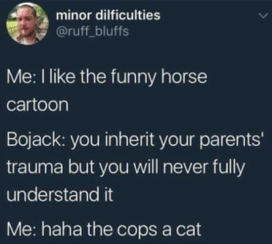 bojack: minor dilficulties  @ruff_bluffs  Me: I like the funny horse  cartoon  Bojack: you inherit your parents'  trauma but you will never fully  understand it  Me: haha the cops a cat