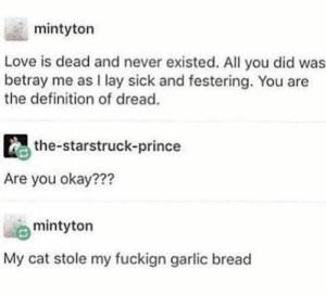 me🐱irl: mintyton  Love is dead and never existed. All you did was  betray me as I lay sick and festering. You are  the definition of dread.  the-starstruck-prince  Are you okay???  mintyton  My cat stole my fuckign garlic bread me🐱irl