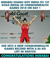Congratulations To #MirabaiChanu (Y) :) #CWG2018: MIRABAI CHANU GOT INDIA ITS 1ST  GOLD MEDAL IN COMMONWEALTH  GAMES 2018 ON DAY 1  old Coast  I Com  elth Ga  GINES  THESTAR tafe OP  LAUGHING  SHE SETS A NEW COMMONWEALTH  GAMES RECORD WITH A 86 KG  LIFT IN SNATCH  CONGRATULATIONS MIRABAI Congratulations To #MirabaiChanu (Y) :) #CWG2018