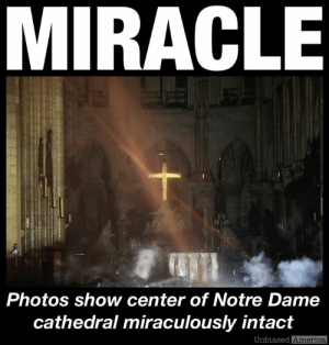 "America, Bad, and cnn.com: MIRACLE  Photos show center of Notre Dame  cathedral miraculously intact  Unbiased  America FIRST PHOTOS FROM INSIDE NOTRE DAME CATHEDRAL SHOW ALTAR AND PARTS OF INTERIOR SURVIVED by Kevin Ryan  ""I can faithfully report that the Cathedral of Notre Dame is not entirely destroyed. Because I am standing inside it – alongside the French prime minister."" – Reporter Robert Hardman  ""The altar and its cross are preserved. It's not as bad as I feared."" – Paris Mayor Anne Hidalgo.  Reuters' Philippe Wojazer took the first photos from inside Notre Dame cathedral following day's fire.  They show the central part of the historic Gothic cathedral still intact.  The wooden chairs and vestibules in parts of the sanctuary remain relatively untouched.  Rows of wooden pews and much of the nave appears to have been saved, according to the images.  The churches relics and treasures were saved, including the Crown of Thorns, the tunic of Saint Louis, and several major pieces of art.  A large hole can be seen in the cathedral's roof, and the pictures show smoke rising from debris around the altar, likely from the part of the roof that collapsed.  But so far, early indications are that the historic building may have escaped the complete destruction many feared.  SOURCES: https://nypost.com/2019/04/15/photos-show-center-of-notre-dame-cathedral-miraculously-intact/ https://www.dailymail.co.uk/news/article-6926257/ROBERT-HARDMAN-witnesses-inside-ravaged-Notre-Dame.html https://www.cnn.com/2019/04/16/europe/inside-notre-dame-cathedral-photos-intl/index.html https://wgno.com/2019/04/15/several-relics-saved-first-photos-after-fire-from-inside-notre-dame/"