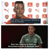 Which one is it Alexis?!? ✋🤔❔ Alexis United Arsenal Always Dreams Lies Funny: mirales  Emirate  Ev  Emirales  Ever since I was young, I wanted to  play for Arsenal.  adidas  AoN  Since I was a young boy l've always said  that my dream was to play for Manchester United Which one is it Alexis?!? ✋🤔❔ Alexis United Arsenal Always Dreams Lies Funny